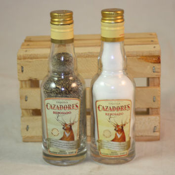 Salt & Pepper Shaker from Upcycled Cazadores Mini Liquor Bottles