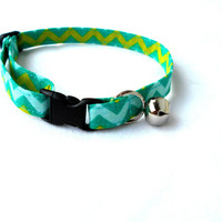 Turquoise Chevron Cat Breakaway Collar - Blue GreenChevron Cat Collar Feline Kitty
