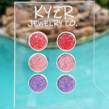 Druzy earring set- Watermelon/ Pink and Lilac drusy stud set