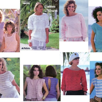 Spring and Summer Sweaters Cotton Mixers Knitting & Crochet Patterns Patons Susan Bates Booklet 17700, Circa 1984