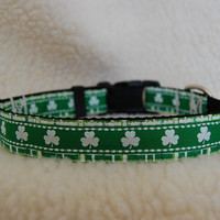 Green Shamrock StPatrick's Day Custom Dog Collar by JustImagine1