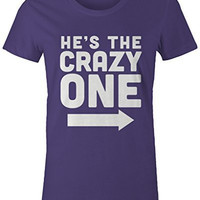 Shirts By Sarah Women's He's Crazy One Best Friend Mix Match Couples T-Shirt (Left)