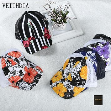 VEITHDIA Fashion baseball cap Spring and autumn season lady  sunscreen mesh cap breathable leisure wild Floral Rose sun hat 371