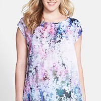 Plus Size Women's DKNY Jeans 'Sunset Florals' Print Front Mixed Media Top