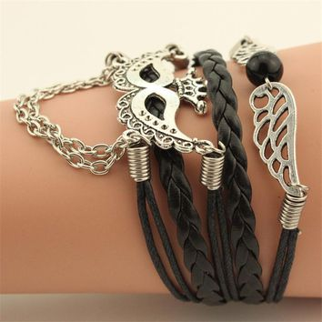HandMade Telesthesia Leather Bracelet - Halloween Party Mask Women Bracelet