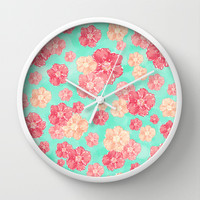 Blossoms Wall Clock by Lisa Argyropoulos | Society6