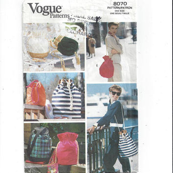 Vogue 8070 Pattern for Misses' Draw String Tote Bags in 6 Styles, 1991, Victorian Style, Vintage Pattern, Home Sew Pattern, Vintage Vogue