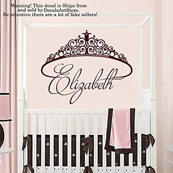 Princess Tiara Wall Decals Custom Personalized Name Crown Sticker Room Vinyl Decal Baby Kids Nursery Children's Decor Girls Art Mural SM187