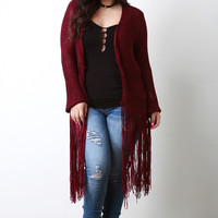 Chunky Knitted Long Fringe Cardigan
