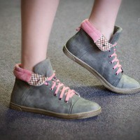 DeBlossom Cassey-12 Lace Up Sneaker (Grey/Pink) - Shoes 4 U Las Vegas
