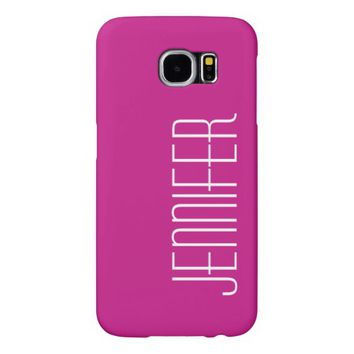 Samsung Galaxy S6 Case, Hot Pink, Personalized Samsung Galaxy S6 Case