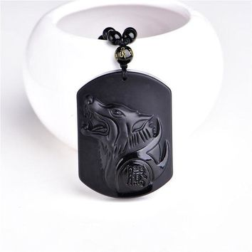 CREYCI7 Natural Black Obsidian Carving Wolf Head Amulet pendant free necklace obsidian Blessing Lucky pendants fashion Jewelry