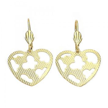 Gold Layered 5.104.010 Dangle Earring, Heart and Butterfly Design, Diamond Cutting Finish, Gold Tone