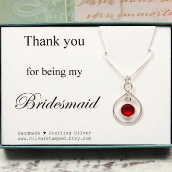 Bridesmaid thank you gift for bridesmaid sterling silver Swarovski birthstone necklace, thank you for being my Bridesmaid gift box
