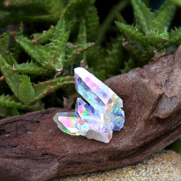 Angel Aura Quartz Cluster // Wiccan Altar Supplies // Opal Quartz Crystal Cluster Specimen // Wicca Altar Supply // Rainbow Aura Quartz AQ10