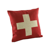 Red Cross Design For Pillow Cotton Linen Case, Pillow Cushion Case 18 x 18 inches