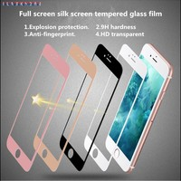 9H hardness Full screen Silk screen Tempered Glass Screen Protector for iPhone 6 6s plus phone Tempered Glass Protective Film