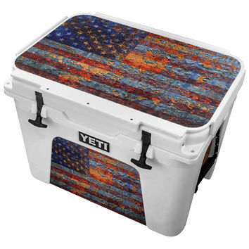 Rusted Vintage American Flag Skin for the Yeti Tundra Cooler