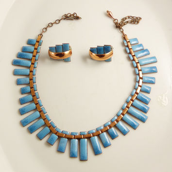 Matisse Renoir Blue Copper Enamel Peter Pan Necklace and clip earring set