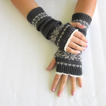 Patterned Dark Grey Knit Arm Warmers- Fingerless Gloves-Knit Gloves-Lace gloves