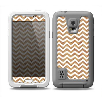 The Wood & White Chevron Pattern Skin for the Samsung Galaxy S5 frē LifeProof Case