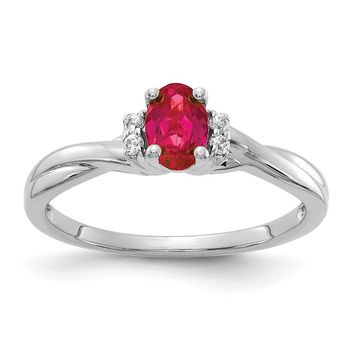14K White Gold Diamond And Oval Ruby Twist Band Ring