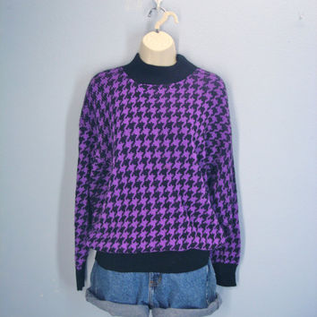 Vintage 80s Sweater / Purple Houndstooth Herringbone / Soft Thick