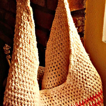 Crocheted Market Tote, Cotton, Stripe, Shoulder Bag, Boho
