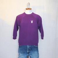 Vintage Rare 80s PLAYBOY BUNNY SWEATER Purple Sexy Soft Stylish Women Small Jumper 50/50 Crewneck Sweatshirt