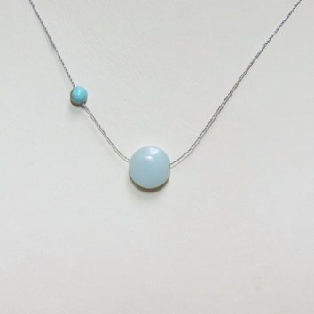 Genuine Amazonite Round Coin and Turquoise Minimalist Cord Necklace, Smooth Blue Amazonite Disc, Genuine Turquoise Bead, Zen Gem, Wabi Sabi