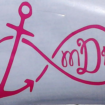 Anchor Infinity Monogrammed Car Decal