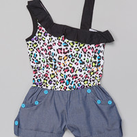 Black & White Cheetah Asymmetrical Romper - Girls | Daily deals for moms, babies and kids