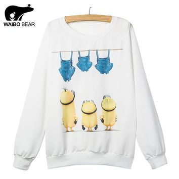 New style Minions Printed hoodies 2017 Fashion Women Hoodies Cotton Sweatshirts Women Casual Loose Female Moletom Sudaderas