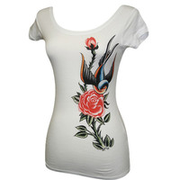 Sparrow and Rose Scoop Neck Tee