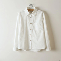 Plain White Long-Sleeve Button Collar Shirt