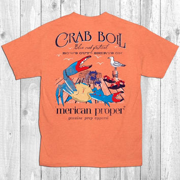 Merican Proper Crab Boil Crab Festival Bows Out Shirts On Preppy Southern Bright T-Shirt