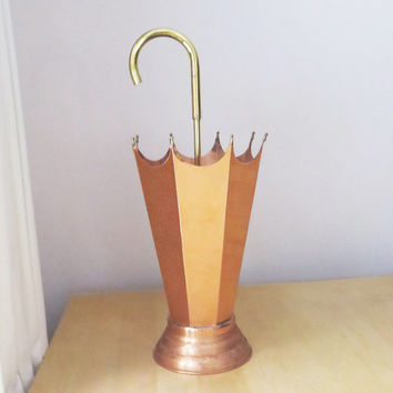 Vintage copper and brass umbrella stand with handle - Umbrella-shape umbrella holder - walking stick cane holder