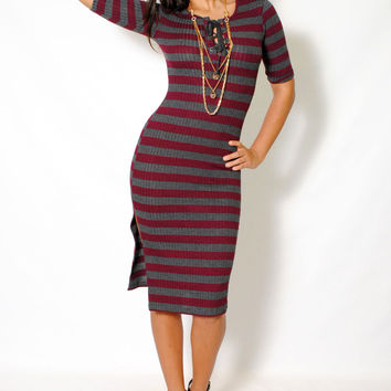 (aly) Laced up striped ribbed burgundy midi dress