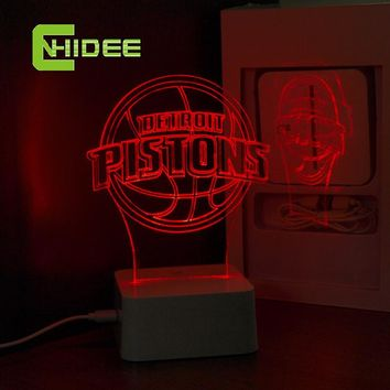 CNHidee Dimmable USB Lamp NBA Light for Pistons Desk Light Detroit 3D Lamp Creative Desk Lamp NBA 3D Desk Lamp for Home Decor
