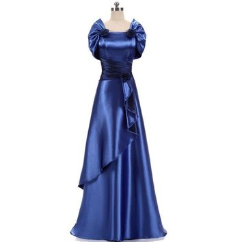 Satin Gold Royal Blue Evening Dresses Long Plus Size Elegant Formal Party Gowns for Women Mother of Bride With Jacket