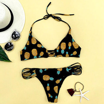 Sweet Summer Fruit Pineapple Halter Bikini Set