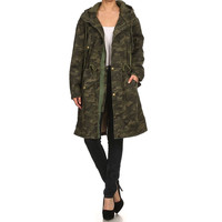 Military Army Long Camo Hoody Jacket with Tie on Waist