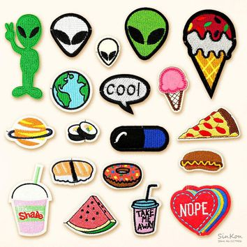 Food Sushi Alien COOL DIY Badge Patch Embroidered Applique Sewing Clothes Stickers Garment Apparel Accessories