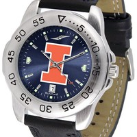 Illinois Fighting Illini Mens Sport Watch Anochrome Leather Band