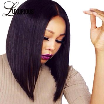 """Luxurious #1/#1B/Natural Color 150% Lace Front Human Hair Wigs With Baby Hair Brazilian Remy Hair 8""""-14"""" Straight Short BOB Wig"""
