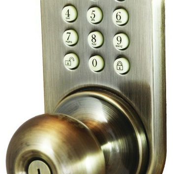 morning industry inc - touchpad electronic door knob (antique brass)