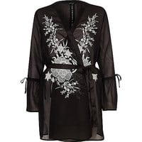 Black embroidered frill sleeve robe