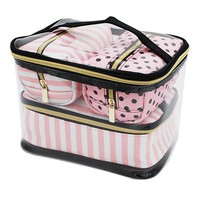 4Pcs/Set PVC Transparent Cosmetic Bag Women's Pink Travel Waterproof Clear Wash Organizer Pouch Beauty Makeup Case Accessories