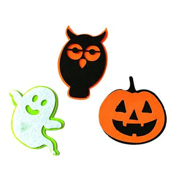 3pcs Halloween Nonwovens Patch Ghost Pumpkin Owl Patch Costume Badge for DIY Cosplay