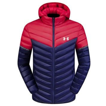 red and blue under armour hoodie